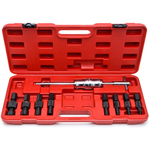 Biltek Blind Hole 10pc Slide Hammer Pilot Bearing Puller Internal Extractor Removal Kit 10pc Blind Hole Slide Hammer Pilot Bearing Internal External Remover Puller (Pilot Bearing Removal)