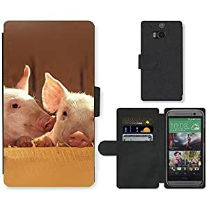 Hot Style Cell Phone Card Slot PU Leather Wallet Case // M99999275 Pig // HTC One M8