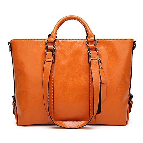 Orange Leather Handbag - 2
