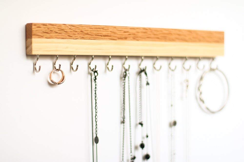 Long 15 Oak & Pine Wood Wall Jewelry Organizer/Necklace Handmade Holder Hooks Key Holder Hanging Stand Rustic Decor/Best gift idea / 2Combo 15 silver hooks on bottom