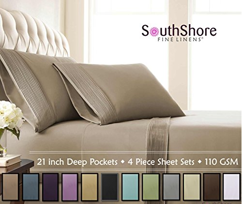 Pleated Linen (Southshore Fine Linens® - 5 Piece - Extra Deep Pocket Pleated Sheet Set , SPLIT KING , TAUPE)