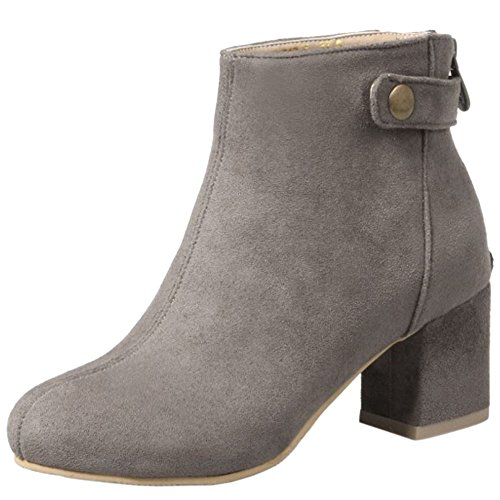 COOLCEPT Damen Mode Blockabsatz Mitte Absatz Stiefeletten Mit Zip Grey