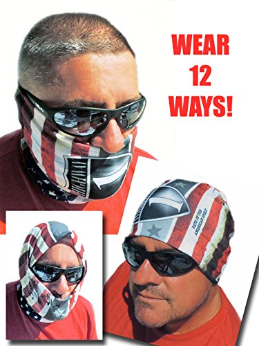 12-in-1 Headband - US American Flag Versatile Sports & Casual Headwear - Wear as a Bandana, Neck Gaiter, Balaclava, Helmet Liner, Mask - High Performance Microfiber by JAM Outlet