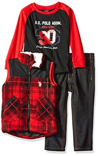 U.S. Polo Assn. Boys Toddler Polar Fleece and Taslon Vest, Long Sleeve T-Shirt and Denim Jean