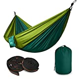 Image of TALONITE Portable Double Camping Hammock - Outdoor 660 Ibs Parachute Nylon Fabric Ultralight Hammock with 2.7m Tree Straps for Beach Garden Traveling Hiking Camping Backpacking