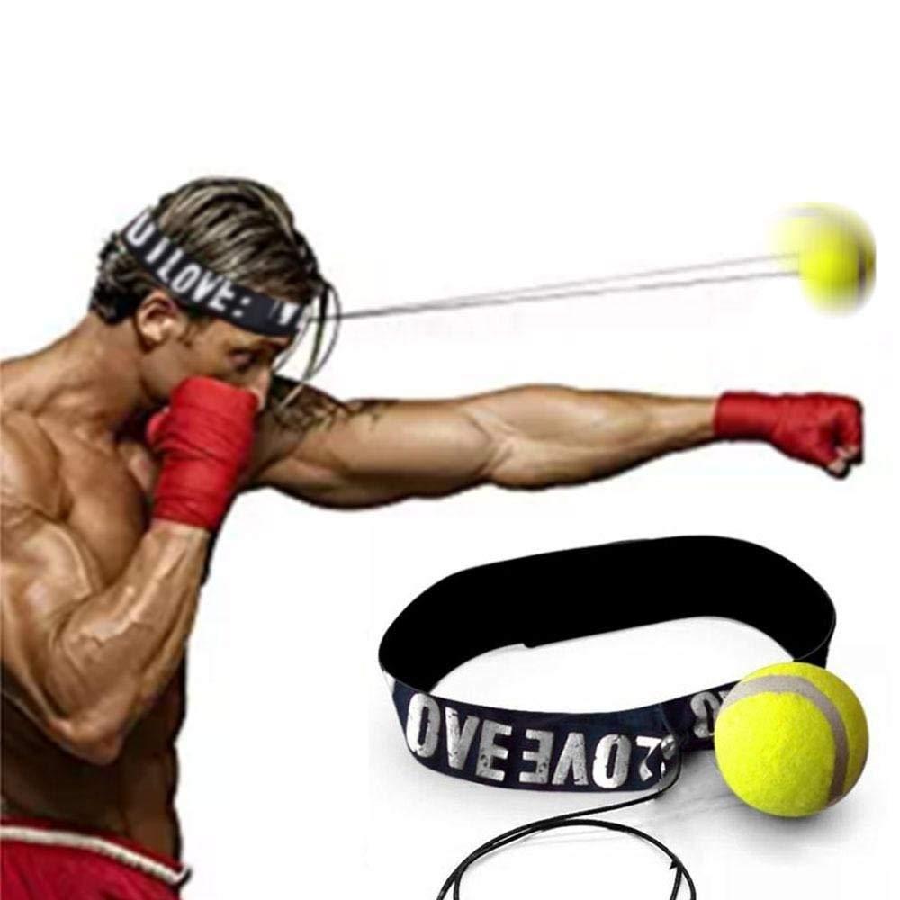 Pawaca boxe Boule réutilisable Fight Reflex Boule avec bandeau réglable pour MMA Combat d'entraînement Réactions