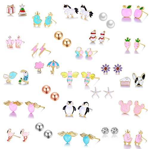 26 Pairs Gold Plated Stainless Steel Post Small Cute Multiple Animal Faux Pearl Stud Earrings Set for Girls Kids (26 (Kids Earring)