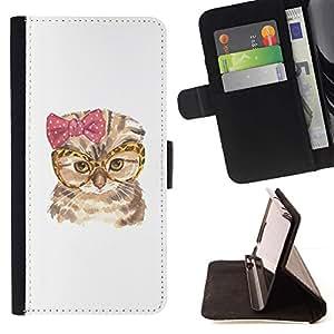 Momo Phone Case / Flip Funda de Cuero Case Cover - Gato del arte divertido de los vidrios del arco rosado del búho; - LG G4c Curve H522Y (G4 MINI), NOT FOR LG G4