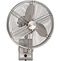 Ellington FAR14BNK3W, Faraday Brushed Polished Nickel Outdoor Wall Fan with 3 blades, 14 Span, Damp