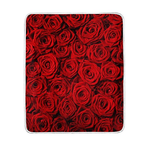 U LIFE Red Roses Soft Fleece Throw Blanket Blankets for Nap