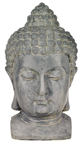 Meditating Buddha Head 18 1/2 High Outdoor Statue