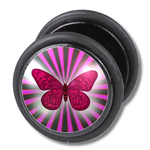 1 x Papillon Butterfly Picture Fake Plug Fakeplug Fakeplugs Boucles d'oreilles Barre grosseur 1,2mm