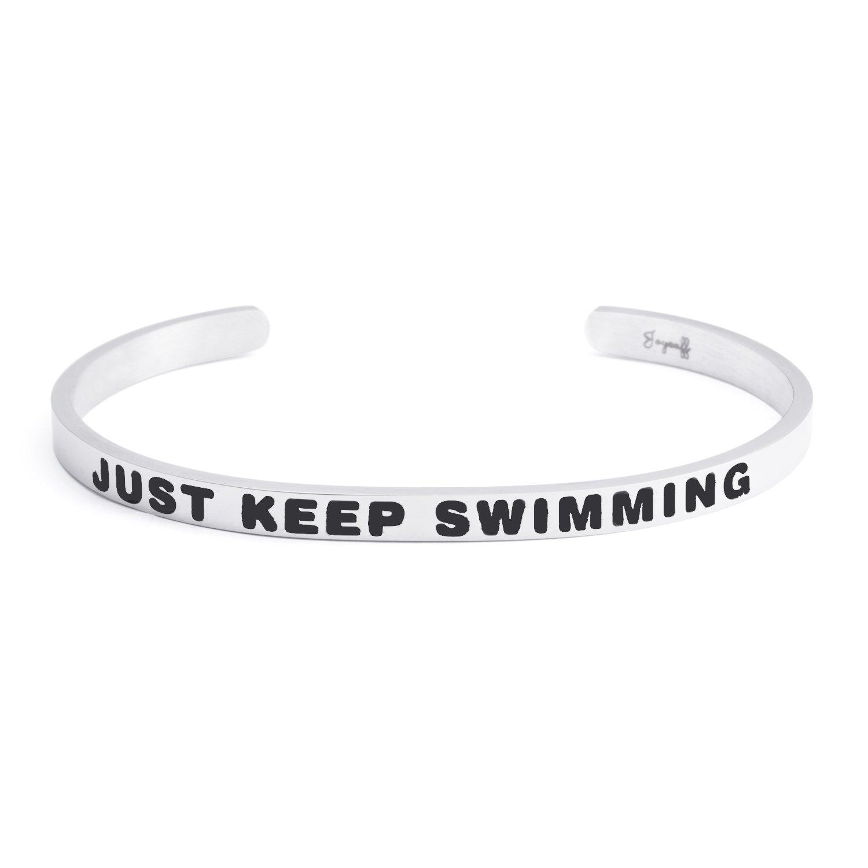 Joycuff Empowerment Bracelet Friend Inspirational Cuff Bangle Daily Reminder Mantra Just Keep Swimming