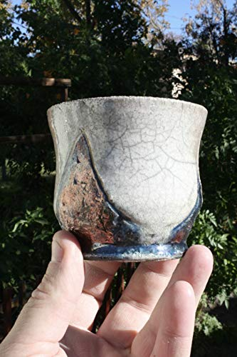 Set of Two Petite White Crackle Raku Bowls, Ceramic White to Gold Raku Yunomi, Ceramic Raku Yunomi Pottery, Small Succulent Pots