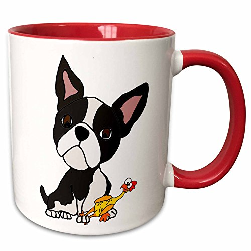 Boston Terrier Ceramic - 3dRose 260973_5 Funny Cute Boston Terrier Puppy Dog with Rubber Chicken Toy Ceramic Mug, 11 oz, Red/White