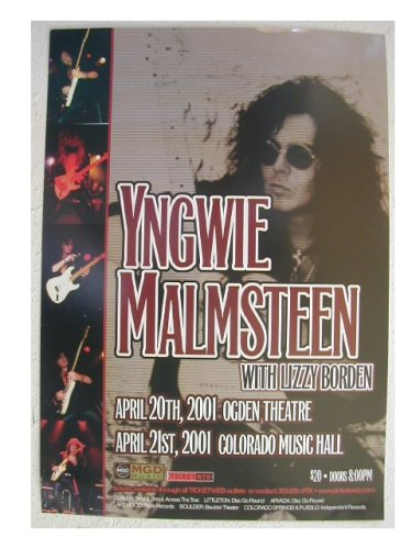 Yngwie Malmsteen Handbill Concert Poster With Lizzie Borden Denver