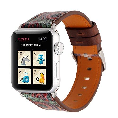 YOSWAN Bracelet for Apple Watch, National Black White Floral Printed Leather Watch Band 38mm 42mm Strap for Apple Watch Flower Design Wrist Watch Bracelet (Retro Flower Green, 42mm)