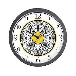 CafePress Yellow Black White Damask Elegant Clock Unique Decorative 10 Wall Clock