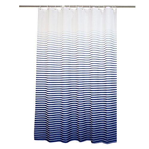 Ufaitheart Bathroom Stall Size Shower Curtain 36 x 72 Inch Water-Repellent Fabric Shower Curtain Striped, Navy/White