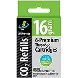 Genuine Innovations G2153 Threaded CO2 Cartridge, 16 Gram (Pack of 6)