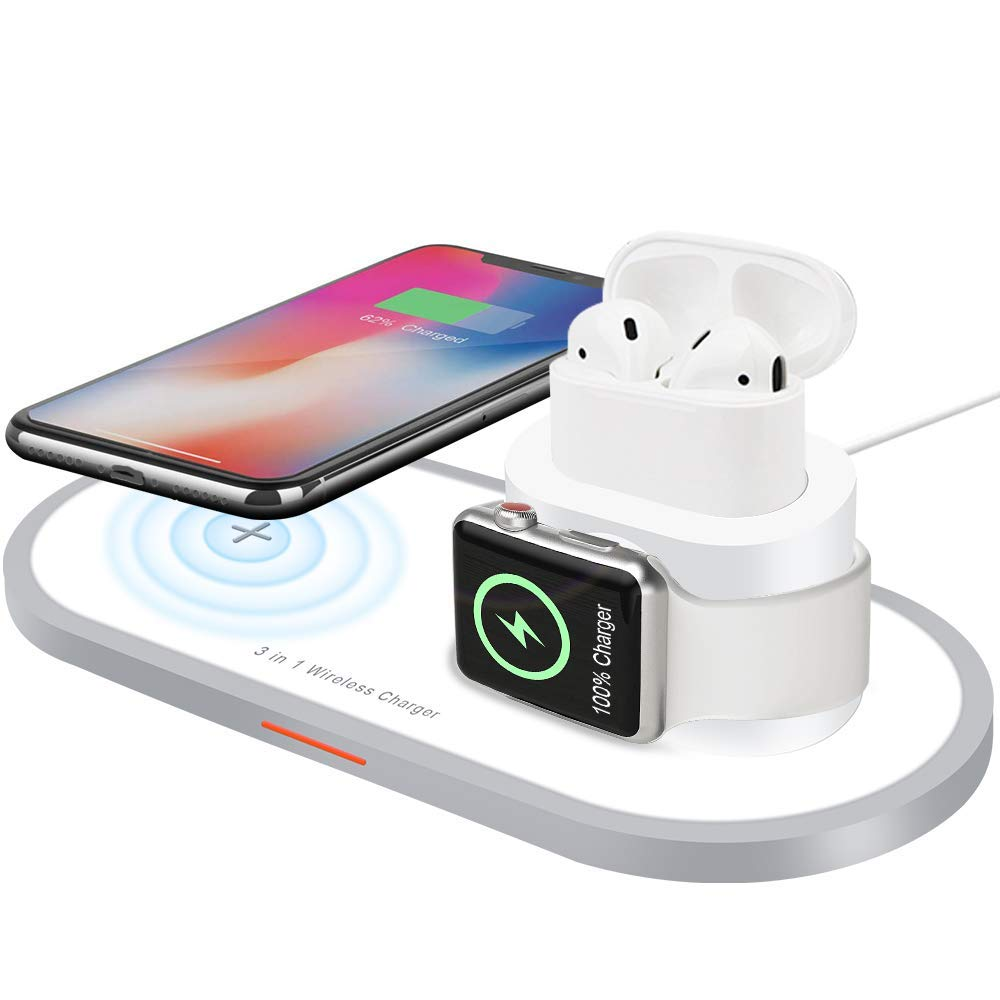 Xflelectronic Wireless Charger, 3 in 1 Wireless Charging Pad for iPhone Apple Watch IWatch Series 4/3/2/1/AirPods, Qi Fast Wireless Charging Station Pad for iPhone Xs Max/Xs/Xr/X by Xflelectronic