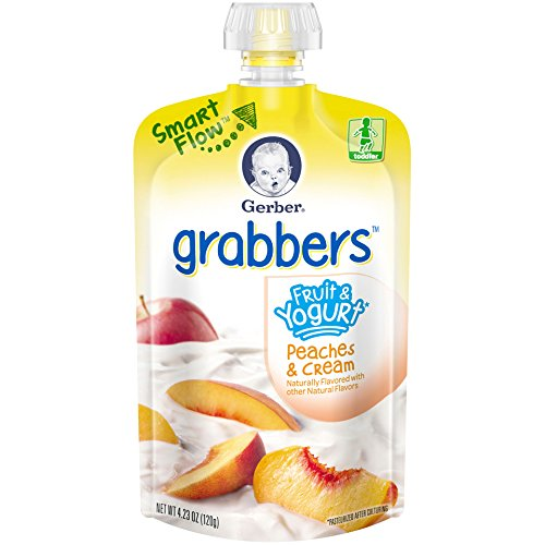 Gerber Graduates Grabbers, Fruit & Yogurt Squeezable Puree with Peaches & Cream, 4.23 oz by Gerber Graduates