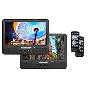 "Koramzi Portable 9"" Dual Screen Dual DVD Player W Rechargeable Battery/ AC Adapter/ AV In/ USB &SD Card Reader/ Remote Control/ Car Adapter/ IR Transmitter Ready/ USB /Headrest Mounting Kit"
