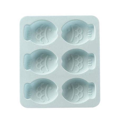 Diy Cake Molde de silicona, 6 cuadrículas Dibujos animados Peces lindos Molde de silicona Herramienta