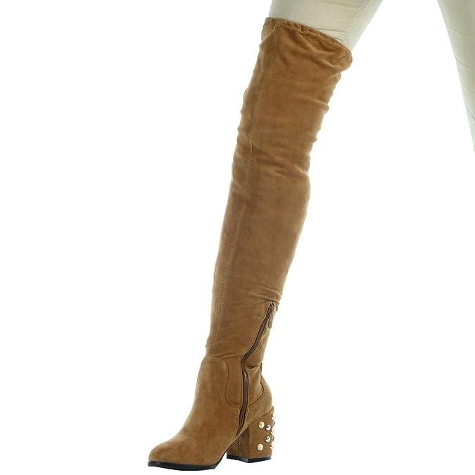 Angkorly Damen Schuhe Oberschenkel-Boot - Oberschenkel-Boot - Flexible - Perle  Blockabsatz High Heel 7.5 cm: Amazon.de: Schuhe & Handtaschen