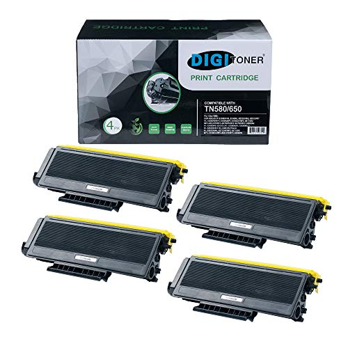 TonerPlusUSA Compatible TN580 TN650 Toner Cartridge - TN-580 TN-650 High Yield Toner Cartridge Replacement for Brother Laser Printer - Black [4 Pack]