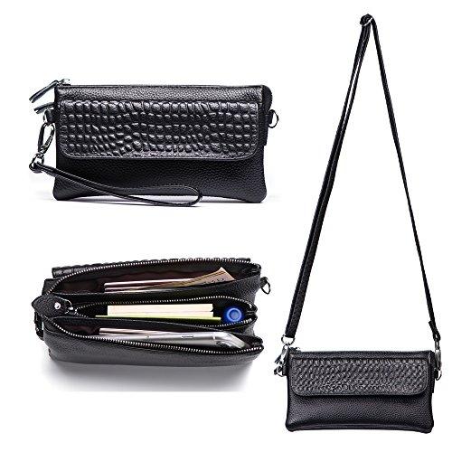 Befen Leather Wristlet Clutch Smartphone Crossbody Wallet with Card Slots/Shoulder Strap/Wrist Strap - Black
