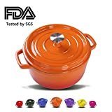 Balichun Cast Iron Dutch Oven With 360 Degree Water-Cycling System, Dual Handles (5.8 Qt, Vitality Orange)