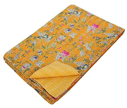 khushvin Blanket Kantha Quilt King Size Quilt Queen Size Quilt Floral Print, Handmade Bohemian Bedspread Cotton Floral Throw Bedcover Bedsheet Sheet Art Deco Floral Print
