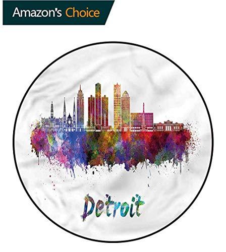 RUGSMAT Detroit Luxury Round Area Rugs,Watercolor Art Skyline Non-Skid Bath Mat Living Room/Bedroom Carpet Diameter-35