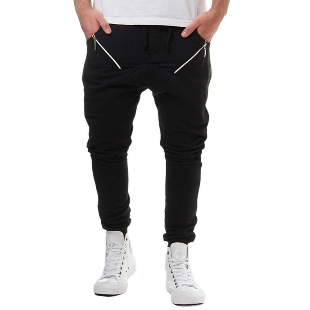 Spbamboo Men's Casual Cotton Patchwork Zipper Sports Run Gym Jogger Pants Trousers