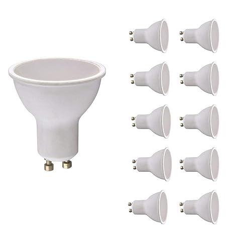 Pack de 10 bombillas LED GU10, 2 W, blanco cálido, 150 lm.