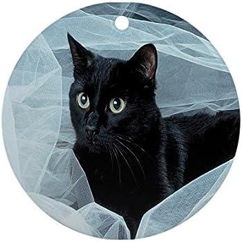 cafepress black cat ornament round round holiday christmas ornament - Black Cat Christmas Ornament