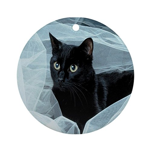 CafePress - Black Cat Ornament (Round) - Round Holiday Christmas Ornament (Black Cat Christmas Ornament)