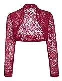 JS Fashion Vintage Dress Women's Lace Cropped Bolero Long Sleeve Shrugs (M,Wine BP49)