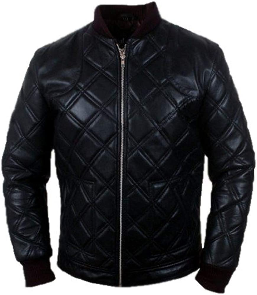 TLE David Beckham Body Quilted Black Biker Bomber Real Leather Jacket