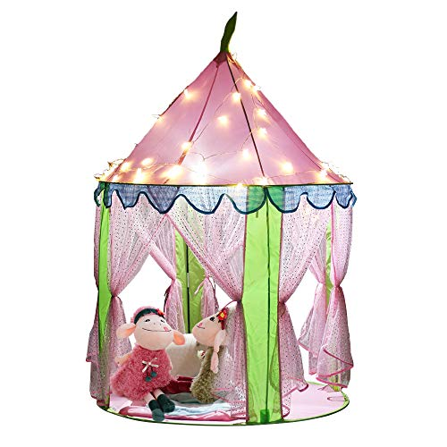EocuSun Girls Princess Castle Play Tents with Glow in The Dark Stars, Kids Pink Play Tent House with Lights and Carrying Case for Indoor and Outdoor Use