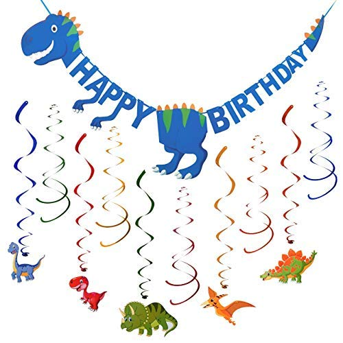 Dinosaur Happy Birthday Banner & Hanging Swirl Decorations | Pre-Assembled | Includes 30 Hanging Dinosaur Swirl Decorations | Dinosaur Party Supplies | Dinosaur Birthday Party Supplies | Dino Banner