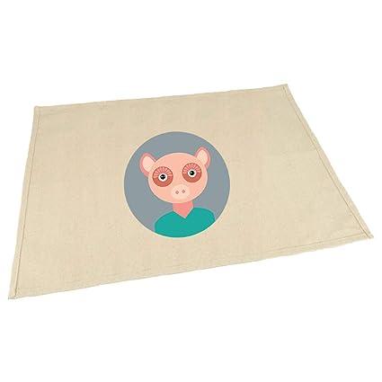 Amazon com: Head In Circle Pig Animals Cotton Canvas