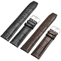 2pc 22mm Replacement Calf Leather Strap Crocodile Grain Watch Band Accessories - Brown and Black