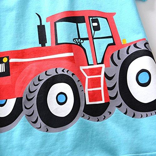 Omiky® Kinder Baby Jungen Mädchen Cartoon Gedruckt Kurzarm Kleidung Kurzarm Tops T-Shirt Bluse Blau
