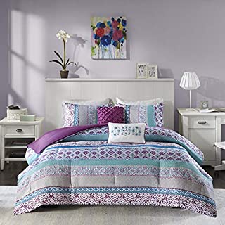 Intelligent Design Cozy Comforter Casual Boho Pieced Design Modern All Season Bedding Set with Matching Sham, Decorative Pillow, Twin/Twin XL, Purple 4