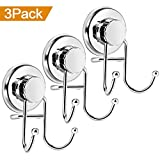 Wikiteng Suction Cup Hooks, Powerful Vacuum Shower Towel Hook Holder, Strong Stainless Steel Hooks for Bathroom & Kitchen,Towel Hanger Storage,Bath Robe, Coat, Loofah,Chrome (3 Pack)