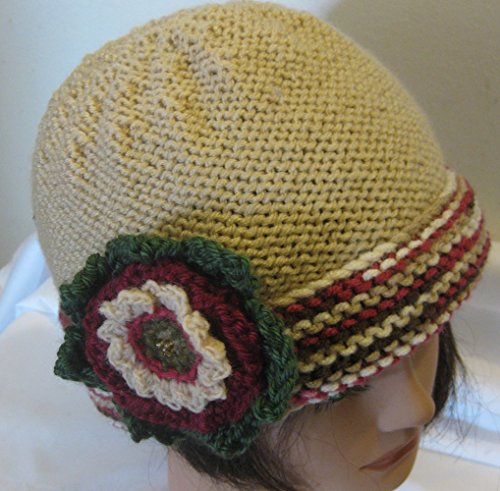- Hat Hand Knit Cherry Chip with Removable Flower Adult Medium/Large