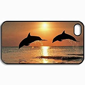 Personalized Protective Hardshell Back Hardcover For iPhone 4/4S, Dolphin Design In Black Case Color