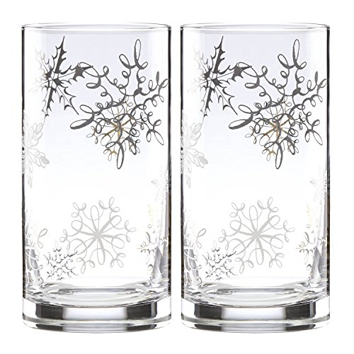 Kate Spade New York Jingle All The Way Snowflake Highball Drinking Glasses, Set of 2
